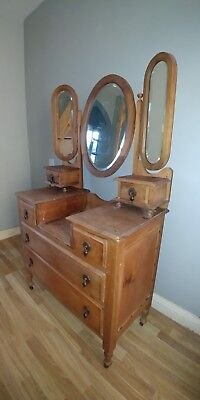1930s stripped walnut dressing table