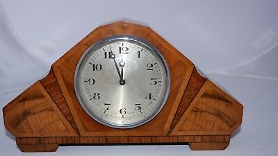 Art Deco 8 Day Walnut Mantle Clock With Swiss Movement. Free UK  Delivery
