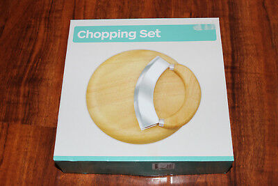 Brand New In Box Wooden Chopping Set Round 22cm Cheese Board & Knife