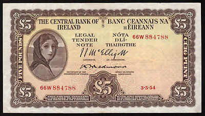 Central Bank of Ireland. Five Pounds 1954. Redmond signature. Nice Very Fine