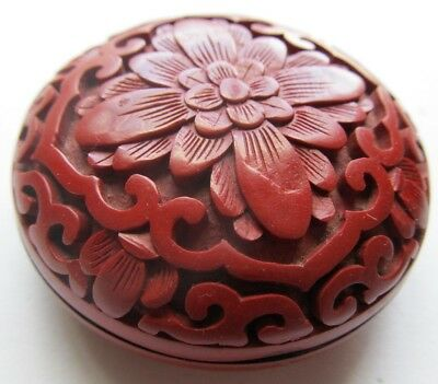 Small Vintage CHINESE Lacquer CINNABAR Trinket BOX As Found