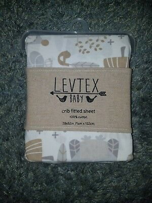 Levtex Baby Night Owl Fitted Crib Sheet Gray / Taupe - Brand New