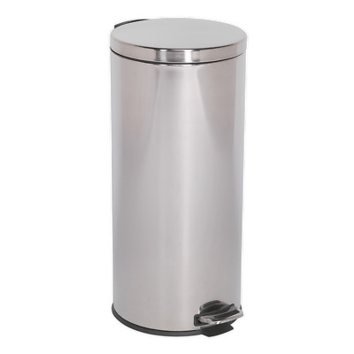 BM71 Sealey Tools Pedal Bin 30ltr Stainless Steel [Janitorial] Bins, Waste