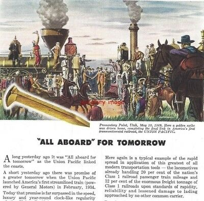 1947 EMD Vintage Union Pacific Railroad Print Ad Golden Spike May 10, 1869 s