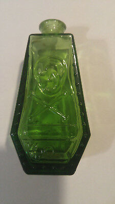 Green Wheaton Glass Mini Bottle SKULL AND CROSS BONES Coffin RIP Use With Care
