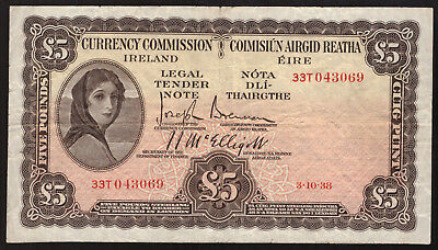 Currency Commission Ireland 5 Pounds 1938 About Very Fine