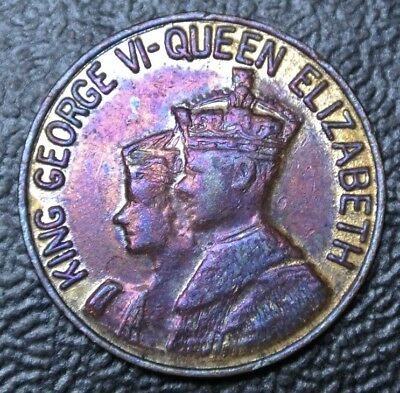 KING GEORGE VI & QUEEN ELIZABETH Crowned 1937 Visit Canada 1939 MEDALLION - 21mm