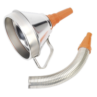 FM16F Sealey Funnel Metal with Flexible Spout & Filter 160mm [Funnels] Funnels
