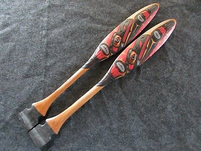 """Northwest Coast Ceremonial """"raven"""" Paddle, Hand Carved & Painted Oar Wy-02477"""