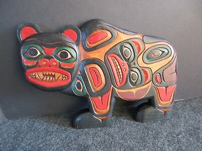 Classic Northwest Coast Design, Hand Carved Grizzly Bear Plaque,  Wy-02466A