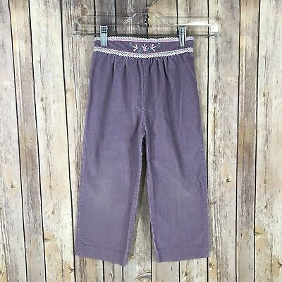Vintage Carters Girls 4T Purple Corduory Pants Floral Embroidered Waistband 80s
