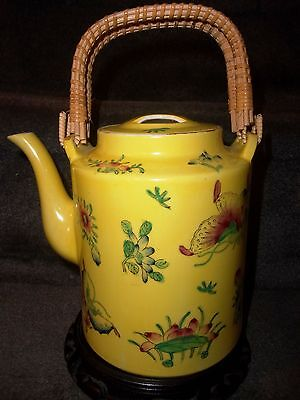 Vintage ACF Decorated in Hong Kong Japanese Porcelain Flower & Butterfly Teapot