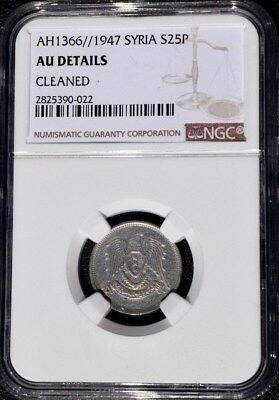 1947 AH 1366 Syria 25 Piastres, NGC AU - Cleaned