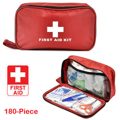 180-Piece Premium First Aid Kit Travel Emergency Medical Bag Compact Home Car UK