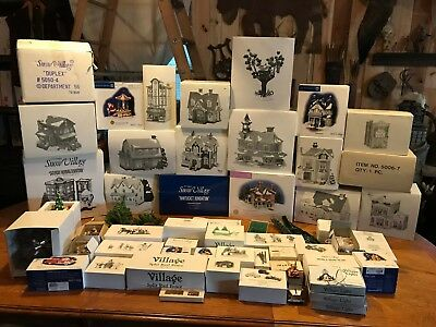 Huge Lot of Department 56 Christmas Snow Village Buildings & Accessories