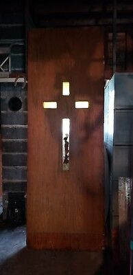 Vintage Wood Door Architecture, Church Cross 3 ft x 8.5 ft x 2.5 in Late 1800s