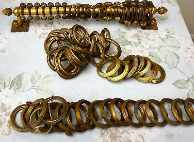 Set x 8 Antique Vintage French brass hollow Curtain Pole Rings