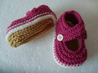 Hand Knitted Baby Booties - Strawberry on Cream - 0-3 months BNWT
