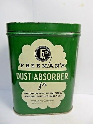 (#1) Vintage Freeman's Dust Absorber Advertizing Auto Polishing Cloth Tin 1950's