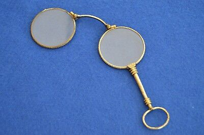 Antique French Gilt Metal Folding Lorgnette - 19th Century - Spectacles Glasses
