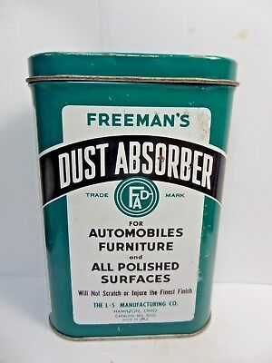 (#2)-Vintage Freeman's Dust Absorber Advertizing Auto Polishing Cloth Tin 1950's