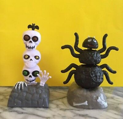 Lot Of 2 Halloween Solar Dancing Decorations Skulls And Spider New