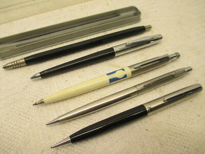 Lot of 5 Parker Bruning Vintage Stainless Cap Arrow Clip Mechanical Pencil