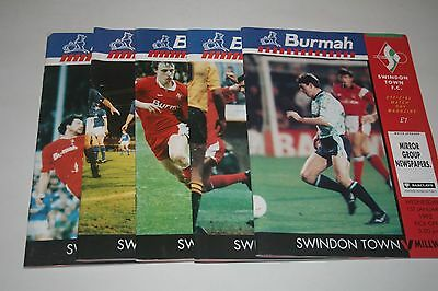 5 Swindon Town Football Programms From Season 1991/1992