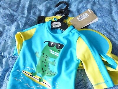 M+S Baby Boys 3 Piece Lycra Xtra Life Safe In The Sun Suit:top,shorts+Hat 0-3