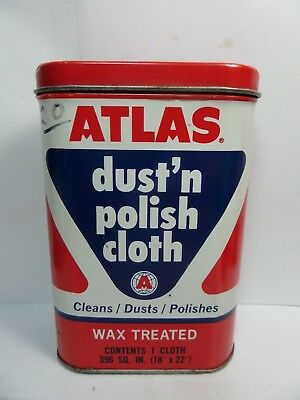 (#1)-Vintage ATLAS Dust and Polishing Cloth Tin Can Automotive Advertizing1950's