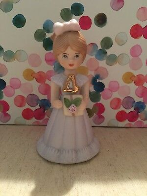 Enesco Growing Up Girls Figurine Birthday--  4 Years Old- Light Brown Hair