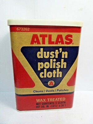 (#3)-Vintage ATLAS Dust and Polishing Cloth Tin Can Automotive Advertizing1950's