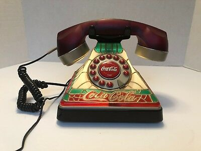 Coca-Cola Stained Glass Look Electric Telephone- Lights UP!