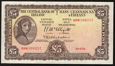 Central Bank of Ireland, Five Pounds 1956. Last Sterling type. Nice Very Fine
