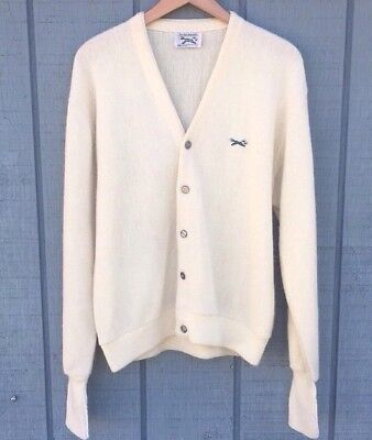 Vintage Mens L 70s JCPenney The Fox Ivory Acrylic Button-Up Cardigan Sweater