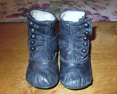 Vintage Black Leather 5 Button High Top Baby Toddler Shoes