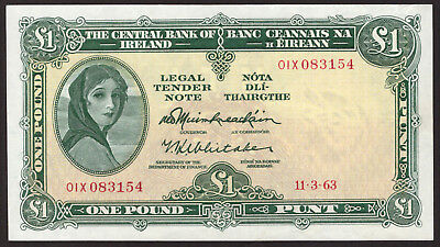 Central Bank of Ireland £1 Pound Note 1963 01X Extraordinary issue Top end GVF