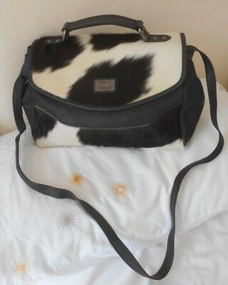 """Patrick Cox"" Designer Large Black Leather & Ponyskin Shoulder / Tote Bag Rare!"