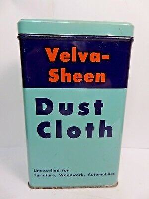 Vintage Velva-Sheen Dust Cloth Tin Can Automotive Advertizing 1950's With Cloth