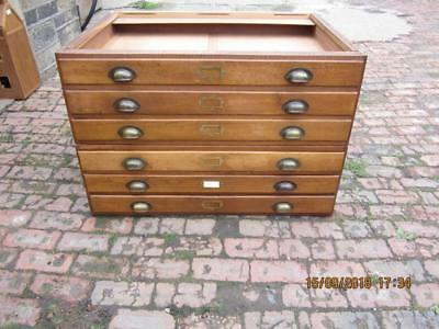 Vintage Industrial Oak Plan Chest /  Architects Drawers
