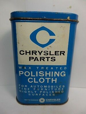 Vintage CHRYSLER Polishing Cloth Tin Can Automotive Advertizing1950's With Cloth