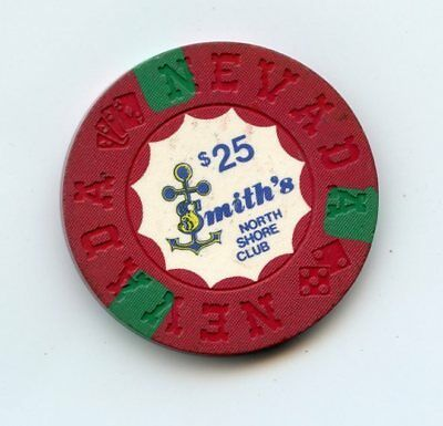 25.00 Chip from the North Shore Club Casino Lake Tahoe Nevadaq Smith