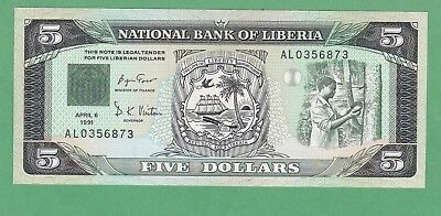 Liberia 5 Dollar Note P-20 UNCIRCULATED