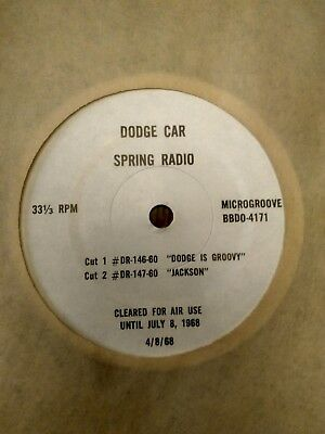 "Vintage 1968 Dodge Charger Advertising Record ""dodge Is Groovy""  ""jackson"""