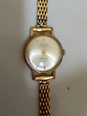 Ladies Rotary 9ct Solid Gold Watch And Strap 20.4g