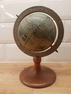 ANTIQUE?or STYLE  WORLD GLOBE ON A WOODEN GLOBE PICTORIAL loft find