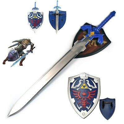Link's Stainless Steel Life Size Master Sword Steel Blade Shield Set Hylian LOZ