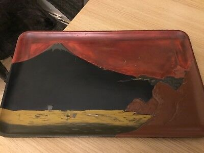 Antique Japanese Mount Fuji Volcano hand carved painted lacquer wooden tray 44cm
