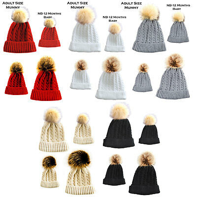 Mummy And Baby Pom Pom Hat Set Cable Knit Fluffy Pom Pom NB-12M And Adult H502