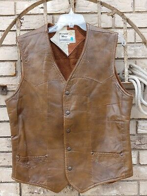Pioneer wear Men's 40 M Sherpa Lined Leather Vest Snap Front